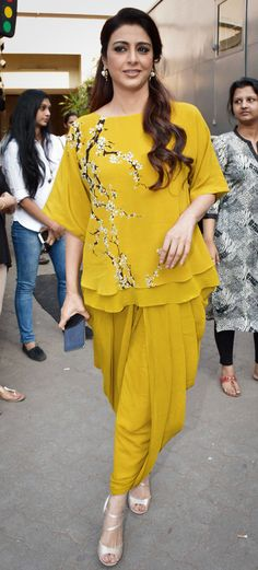 Tabu in yellow dhoti pant with matching embroidery kurti by nikasha.