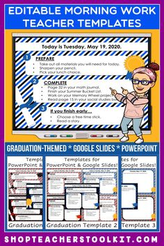 These graduation-themed Editable PowerPoint and Google Slides Teacher Templates include space to type the day and date, reminders of what to do when entering the classroom, as well as 'must do' and 'may do' assignments. Remind your students of their morning assignments during arrival time by displaying them on your whiteboard or SMARTBoard. #teachertemplates #morningarrivalinstructions #editable #powerpoint #googleslides #graduation