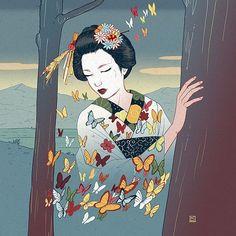 "206 Synes godt om, 5 kommentarer – Nicolás Castell (@nicolascastell) på Instagram: ""Geisha #nicolascastell #illustration #ukiyoe"""