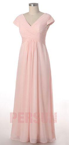 0ddcdc28fbc7a robe demoiselle d honneur rose simple longie plissé col en V