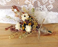 FARMHOUSE Yellow Dried Flower Wedding Boutonniere - Perfect for your RUSTIC Country Wedding via Etsy