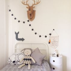 Kids room with gray bedding. #bunnyonComponibili