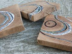 wood and mosaic Wood Mosaic, Mosaic Diy, Mosaic Crafts, Mosaic Projects, Mosaic Glass, Mosaic Tiles, Wood Projects, Stained Glass, Wood Glass