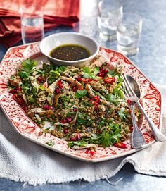 Chicken and freekeh salad with pomegrate by delicious