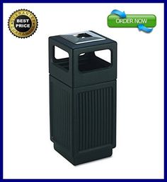 Outdoor Trash Can Bin Waste Receptacle Steel Frame Panel Open Lid/Top 15 Gal NEW #SafcoProducts