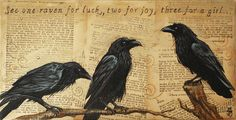"""Fabulous Painting of Ravens on Old German Textbook Pages.....a Collective of Ravens IS called a """"StoryTelling"""" after all!! by Julie Miller"""