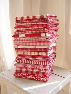 Red Fabric Stash by Redwork in Germany, Red And White Quilts, White Fabrics, Textiles, Red And White Kitchen, My Favorite Color, My Favorite Things, Linens And Lace, White Linens, White Towels
