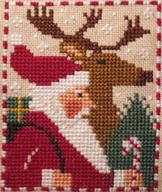 santas and snowmen - Prairie Schooler LOVE THAT DEER!