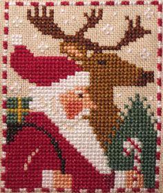 santas and snowmen - Prairie Schooler LOVE THAT DEER!