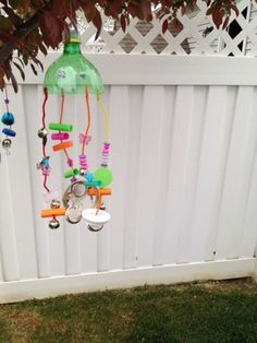 wind chime from bottle caps & recycled items found around the house.