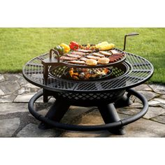 Big Horn W Black Steel Wood-Burning Fire Pit at Lowe's. Do it all with the 47 In. impressive size and heavy duty steel construction will make definitely make this the centerpiece of Metal Fire Pit, Wood Burning Fire Pit, Wood Burning Cook Stove, Rustic Fire Pits, Fire Pit Grill, Fire Pit Backyard, Fire Pit To Cook On, Backyard Patio, Backyard Ideas