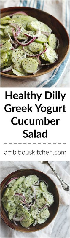 Dad's fresh Dilly cucumber salad made with greek yogurt instead of mayo. A refreshing, sweet and tangy summer salad!
