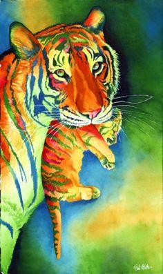 ...Tiger and Cub Watercolor Sinclair Stratton