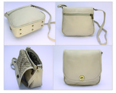 BEIGE FLAP.  EXTERIOR: Made of beige Cowhide Leather. Antique brass round turn lock. Metal-finished zippers. Rectangular metal rings. External zipper pocket. Antique brass metal studs INTERIOR: Printed lining. One Pocket for cell phone or glasses. One zipper pocket.