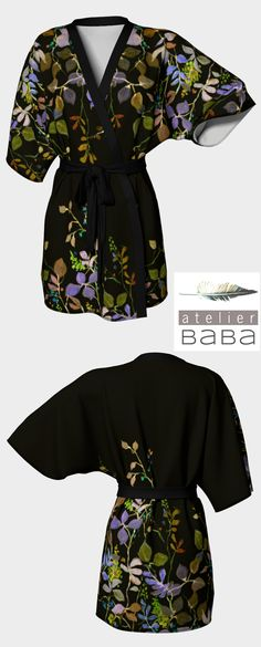 """""""Midnight Garden Kimono"""" by atelierbaba on Art of Where. Choice of silky fabrics and trim options. Made in Canada. Sweet"""