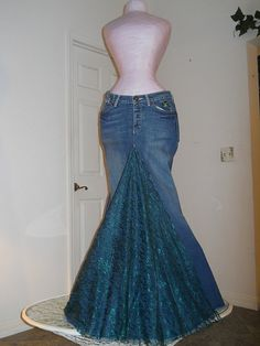 Belle Époque Émeraude jean skirt emerald lace by bohemienneivy (personal DIY, maybe?)