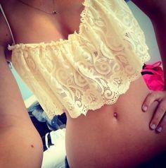 swimwear, top, lace, beige, cute, sweet, summer - Wheretoget