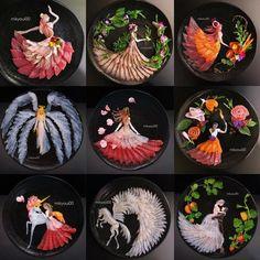 Japanese Dad Makes Breathtaking Sashimi Art for His Family to Teach His Kids to . - Japanese Dad Makes Breathtaking Sashimi Art for His Family to Teach His Kids to Appreciate Food - Easy Food Art, Cute Food Art, Creative Food Art, Food Art For Kids, Edible Food, Edible Art, Fruit Food, Sushi Kunst, Sushi Art