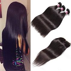 Unice Malaysian Straight Hair 3 Bundles Virgin Human Hair Wefts with Free Part Lace Closure Unprocessed Human Hair 14 Unice Hair, Hair Weft, Straight Hairstyles, Cool Hairstyles, Bun Hair Piece, Wire Headband, Hair Toppers, Hair Quality, Body Wave Hair
