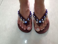 MUSSELS: Beaded Woven with mussels  Leather Flip Flop Handmade