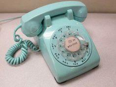 Vintage Hardwired Rotary Phone Robin Egg Blue