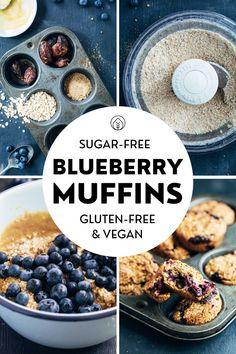 Vegan Baking Recipes, Vegan Breakfast Recipes, Vegan Snacks, Vegan Desserts, Whole Food Recipes, No Sugar Desserts, Vegan Food, Healthy Recipes, Sugar Free Blueberry Muffins
