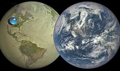The US Geological Survey map shows what it looks like if all the water one the planet is formed into a sphere over the US. All of the water on Earth would create a 860 mile wide sphere.