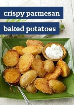 Crispy Parmesan Baked Potatoes -- Meet your family's new favorite side dish recipe! It only takes 10 minutes to prepare these crispy, delicious spuds, perfectly paired with any entree.