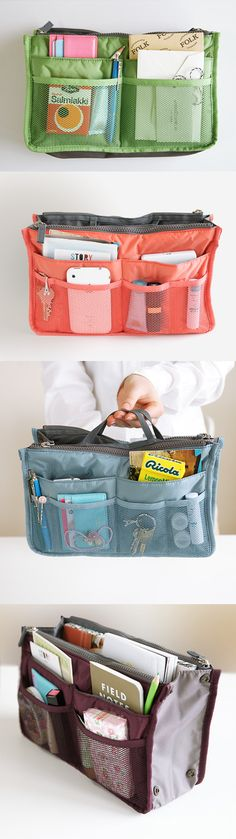 The best way to organize any tote bag or purse for work! Includes large pockets big enough for items like an iPad or planner, as well as tons of smaller pockets and pouches for other times. No more time wasted digging around in your bag for loose items! A hidden handle makes for easy removal from your bag....