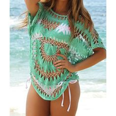 Sexy Jewel Neck Openwork Dolman Sleeve Bikini Cover-Up For Women