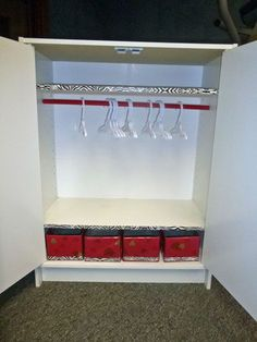 The inside of the DIY American Girl Doll Closet