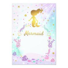 Mermaid Theme Birthday, Little Mermaid Birthday, Little Mermaid Parties, Mermaid Party Invitations, Free Printable Birthday Invitations, Adele Birthday, Rusalka, Baby Shower, Ideas