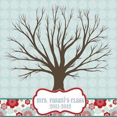 thumbprint tree--print on canvas. School Classroom, School Fun, Classroom Ideas, Name Decorations, Thumbprint Tree, Teacher Gifts, Teacher Stuff, Room Mom, Tree Print