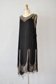 vintage 1920s black silk chiffon deco beaded dress - Click Image to Close