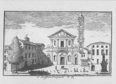 """Chiesa di S. Stefano, piazza S. Stefano, Milano. Marc'Antonio Dal Re, """"Vedute di Milano"""", incisione 5 (ca. 1745)."""