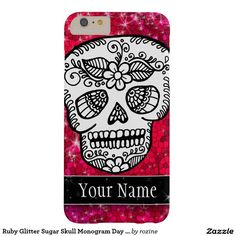 Ruby Glitter Sugar Skull Monogram Day of the Dead Barely There iPhone 6 Plus Case