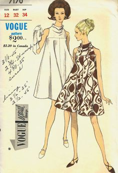 Vintage Tent Dress Vogue Pattern 7170 size 12 by SewReallyCute