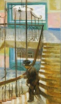 Stairway - István Szönyi, 1936 Hungarian 1894 - 1960 Oil on canvas, 114 x 70 cm x in) Stairways, Oil On Canvas, Painters, Artwork, Scenery, Ladders, Staircases, Work Of Art, Painted Canvas