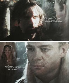 Aragorn, Celeborn // I'm not crying, there's just an Ent in my eye. This is just...so sad - because Galadriel did sail away with Bilbo, Frodo, Gandalf, and Elrond to Valinor - and Celeborn remained behind. Feelings...