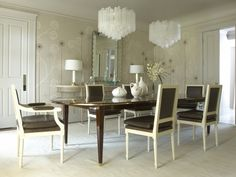 Jan Showers -Classic Chairs, Fun Mid Century Chandeliers,Amazing Hand Painted wallcovering