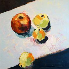 "Saatchi Art Artist Kasia Gawron; Painting, ""Still life with red apple"" #art 19.7 H x 19.7 W $500"
