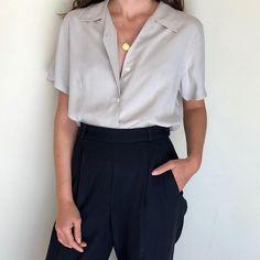 Vintage ecru silk button up