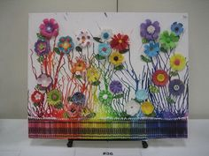 Fantastic Melted Crayon Art with Various Paper Flowers.