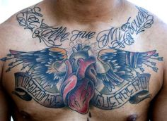 Winged Heart With Banner Tattoo On Chest