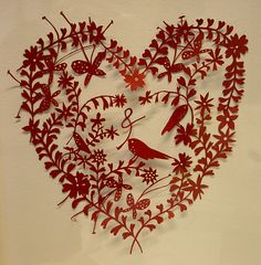 Rob Ryan. cut paper heart #nature motif
