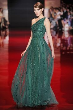 Elie Saab dress- emerald/sea green one shouldered dress covered in sparkle and belted