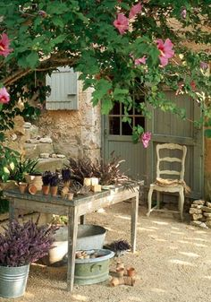table under the shade of a tree in this lovely French cottage garden. Garden Cottage, Home And Garden, Shabby Chic Garden, Garden Living, Outdoor Rooms, Outdoor Gardens, French Country Style, French Country Gardens, Country Life
