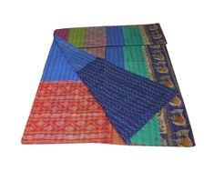Silk Patchwork Kantha Quilt Kantha Blanket Bedspread Bedcover Handmade Bed  #Handmade #ArtDecoStyle Kantha Quilt, Quilts, Bedspread, Bed Covers, Art Deco Fashion, Beach Mat, Outdoor Blanket, Silk, Handmade