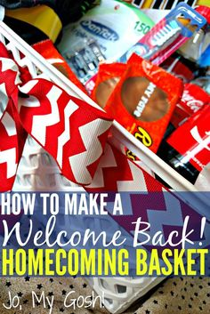 How to make a welcome home basket-- perfect for homecoming after deployment! Missionary Homecoming, Military Homecoming, Homecoming Ideas, Homecoming Dresses, Prom, Welcome Home Parties, Welcome Home Gifts, Welcome Back Home, Military Deployment