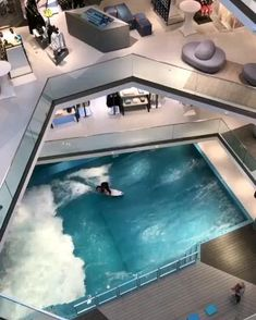 Can you imagine an indoor wave pool in your house? Can you imagine an indoor wave pool in your house? 🏄🏻‍♀️🏄🏽‍♂️ Tag your friends who would fall in love with this! The wave pool is positioned on the ground floor, of the L Surf Pool, Wave Pool, Indoor Swimming Pools, Swimming Pool Designs, Luxury Swimming Pools, Lap Pools, Backyard Pools, Pool Decks, Outdoor Pool
